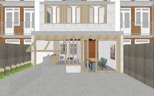 afbeelding van uitbouw maisonette amsterdam